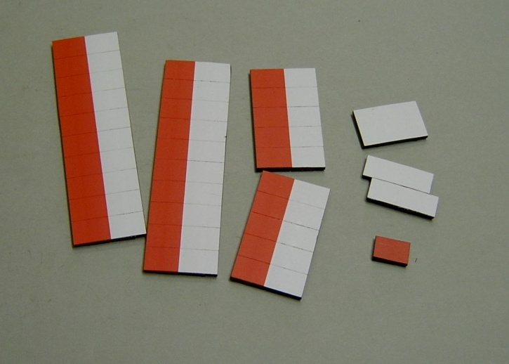 Satz Kippmagnete für Stundenplan, halb rot/ halb weiß