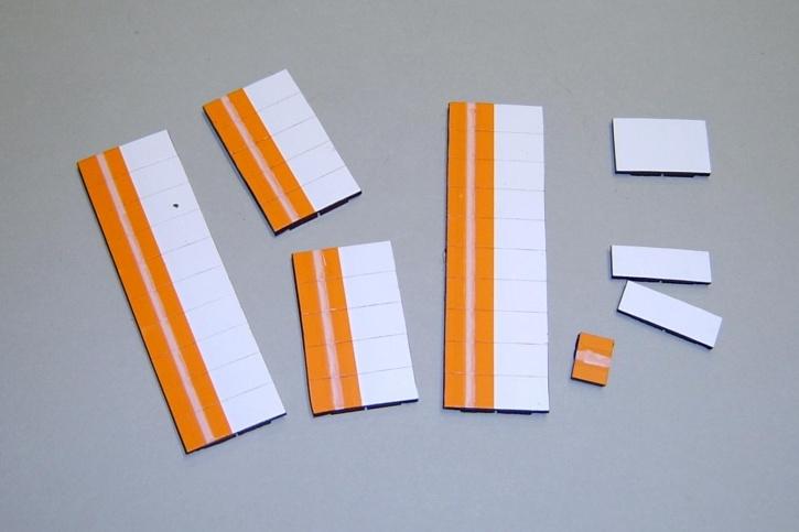 Satz Kippmagnete für Stundenplan, orange mit Streifen / weiß