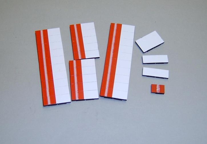 Satz Kippmagnete für Stundenplan, rot mit Streifen / weiß