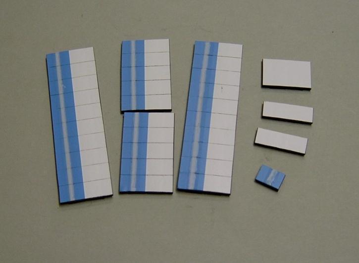 Satz Kippmagnete für Stundenplan, hellblau mit Streifen / weiß