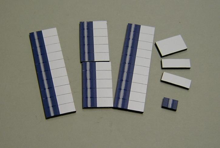Satz Kippmagnete für Stundenplan, dunkelblau mit Streifen / weiß