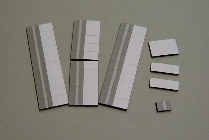 Satz Kippmagnete für Stundenplan, grau mit Streifen / weiß