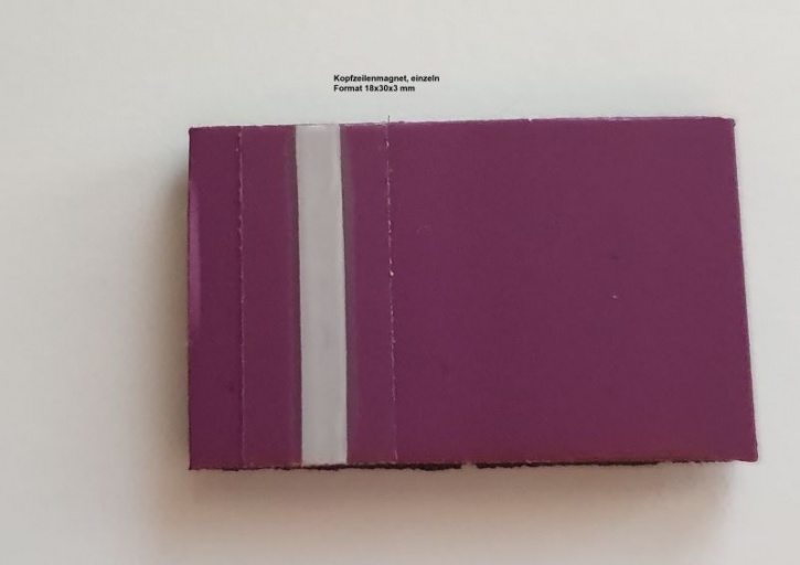 Kopfzeilenmagnet zur Kennzeichnung der Klasse 18x30mm, lila mit weißem Streifen