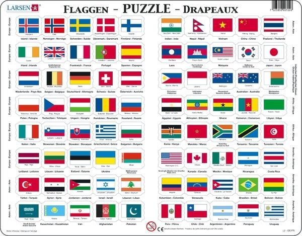 Puzzle - Flaggen, Format 36,5x28,5 cm, Teile 80