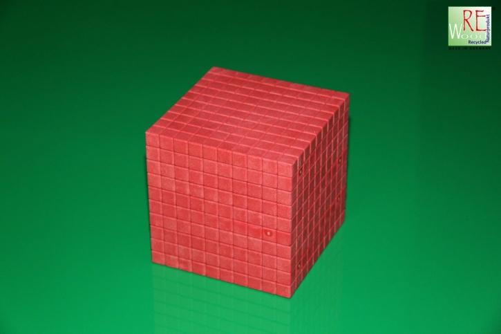 Farbiger Dienes Tausenderwürfel, 1 Stück aus RE-WOOD®, rot