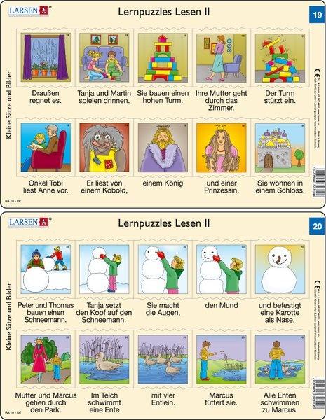 Puzzle - Lernpuzzles Lesen II (19 und 20) Format je Puzzle 28,5x