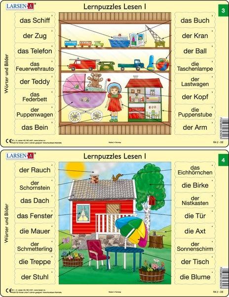 Puzzle - Lernpuzzles Lesen I (3 und 4) Format je Puzzle 28,5x18,