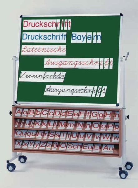 Fahrbare Hafttafel, eine Seite Klettenbezug grün, eine Seite als Buchstabensetzbrett