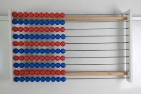 100er Lehrer-Rechenrahmen rot/blau in Zehnerreihen