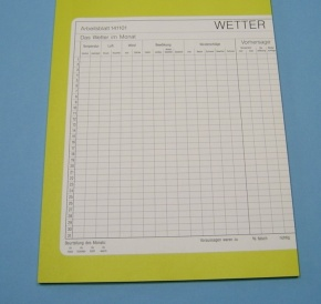 Wetterbeobachtungs-Arbeitsblatt, Block mit 30 Blatt
