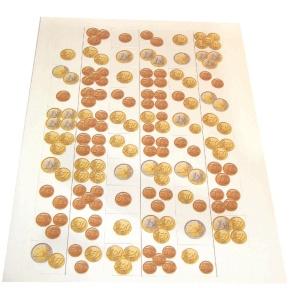 Kartonvorlage für Dominosteine, Euromünzen