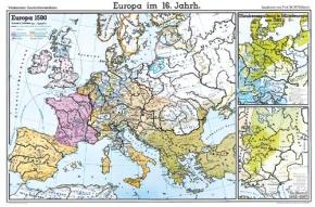 Wandkarte Europa im 16. Jahrhundert, 200x140 cm
