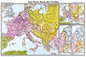 Wandkarte Das Reich Karls des Großen, 204x139 cm