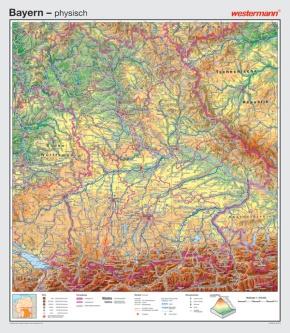 Wandkarte Bayern, physisch/politisch, 147x169cm