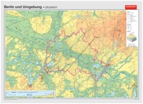 Wandkarte Berlin, physisch/politisch, 147x169 cm