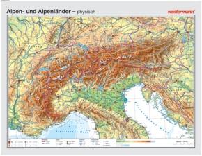 Wandkarte Alpen und Alpenländer, physisch/politisch, 181x140 cm