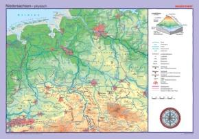 Posterkarte Niedersachsen, physisch/politisch, 100x70 cm