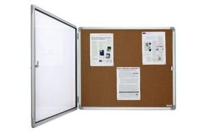Schaukasten für innen, extra flach, Kork/Pinnwand, für 12x DIN A