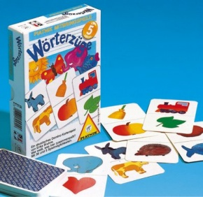Wörterzüge, Ein akustisches Dominospiel. Die Karten werden so ge