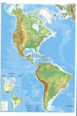 Wandkarte Amerika, Nord- und Südamerika, physisch, 120 x 180cm