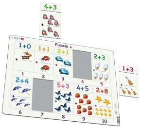 Puzzle - einfache Addition bis 10, Format 36,5 x 28,5 cm, Teile 20