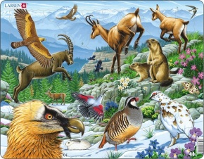 Puzzle - Tiere der Alpen, Format 36,5x28,5 cm, Teile 55