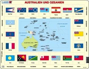 Puzzle - politische Karte und Flaggen - Australien und Ozeanien,