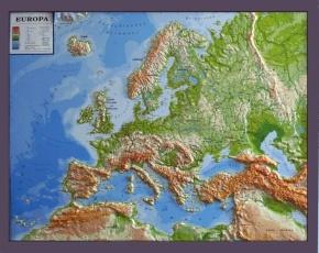 Reliefkarte Silverline, Europa, physisch, deutsch, im Holzrahmen